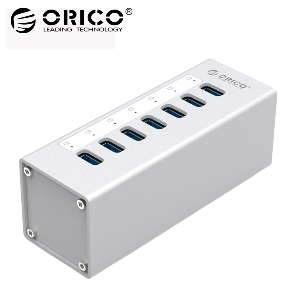 ORICO High Speed Aluminum 7 ports USB 3.0 HUB USB Port 5Gbps with 12V Power Adapter and 1M USB3.0 Date Cable-(A3H7) orico usb hub 7 ports 5 gbps usb3 0 hub splitter support bc1 2 charging with 12v dc charging port