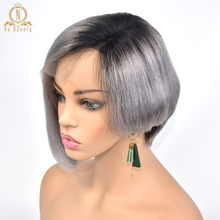 Silver Grey Ombre 1B 613 Color Blonde Wigs 13x6 Lace Front Human Hair Short Wigs Pixie Cut Bob Wig Straight Black Hair For Women(China)
