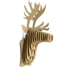 3D Puzzle Paper DIY Creative Model Wall Hanging Deer Head Elk Elephant Rhinoceros Gift Craft Home Decoration Animal Wildlife
