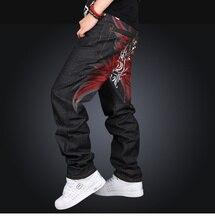 Men's Black Baggy Jeans Hip Hop Designer Brand Skateboard Pants Loose Style Plus Size 30-42 True Hiphop Rap Jeans Boy Trousers