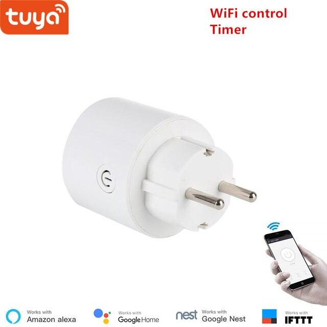 Tuya WiFi الذكية المقبس التوصيل اللاسلكي الاتحاد الأوروبي المنزل الذكي التبديل متوافق مع جوجل المنزل و اليكسا التحكم الصوتي