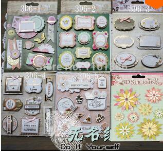 Vintage European Wedding Decorative 3D Adhesive Stickers to DIY Gift/Photo Album /Scrapbooking Craft Supplies 6sets/lot