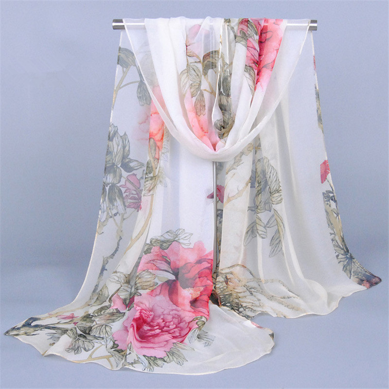 Chiffon Silk Scarf Female Summer Autumn All-match Shawl Long Print Flower Design Ponchos And Capes Pareo Beach Scarves Bandanas
