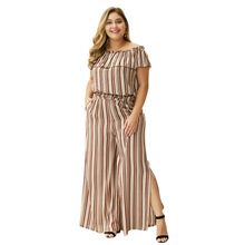 WHZHM Summer Plus Size 3XL 4XL Sexy Striped Sets Women Casual Two Pcs Off Shoulder Beach Tops and Long Loose Split Pants Ladies