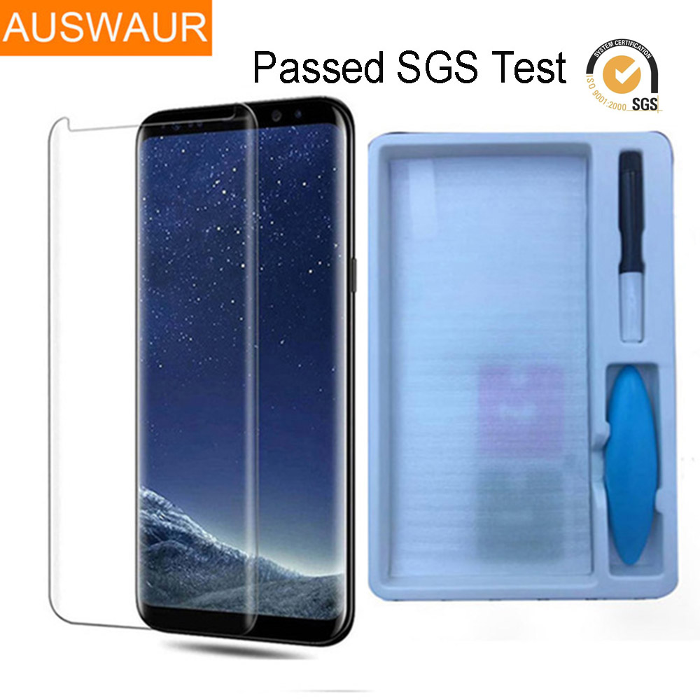 Liquid State Plastic Surface Full Screen UV Glue Tempered Glass For Samsung Galaxy S8 S9 Plus S7 Edge Note 8 Screen Protector