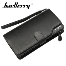 Baellerry Solid Men Long Business Wallet Zipper Hasp PU Leather Porta Rope Wallet Coin Pocket Card Holder Photo Holder Wallet baellerry men solid black long wallet pu leather zipper n rope wallet coin pocket card holder photo holder business wallet men