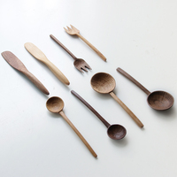 Japan Style black walnut solid wood spoon butter knife fork baking dinner home carving process without paint