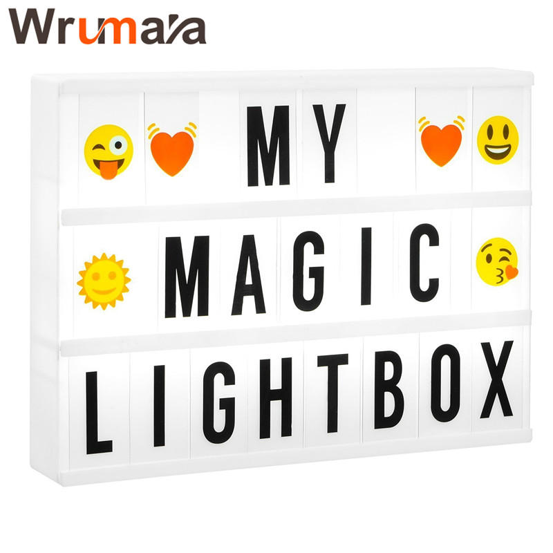 Wrumava A3 Size LED Cinema Light Box DIY Letters Symbols Cards Cinematic LightBox Luminous Box For Birthday Wedding Supermarket