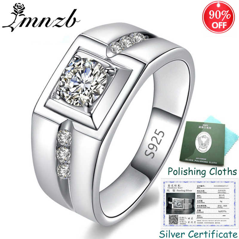 90% OFF! Sent Certificate! Real 925 Sterling Silver Wedding Rings Men Jewelry Inlay Cubic Zircon Engagement Rings for Men ZSRJ29