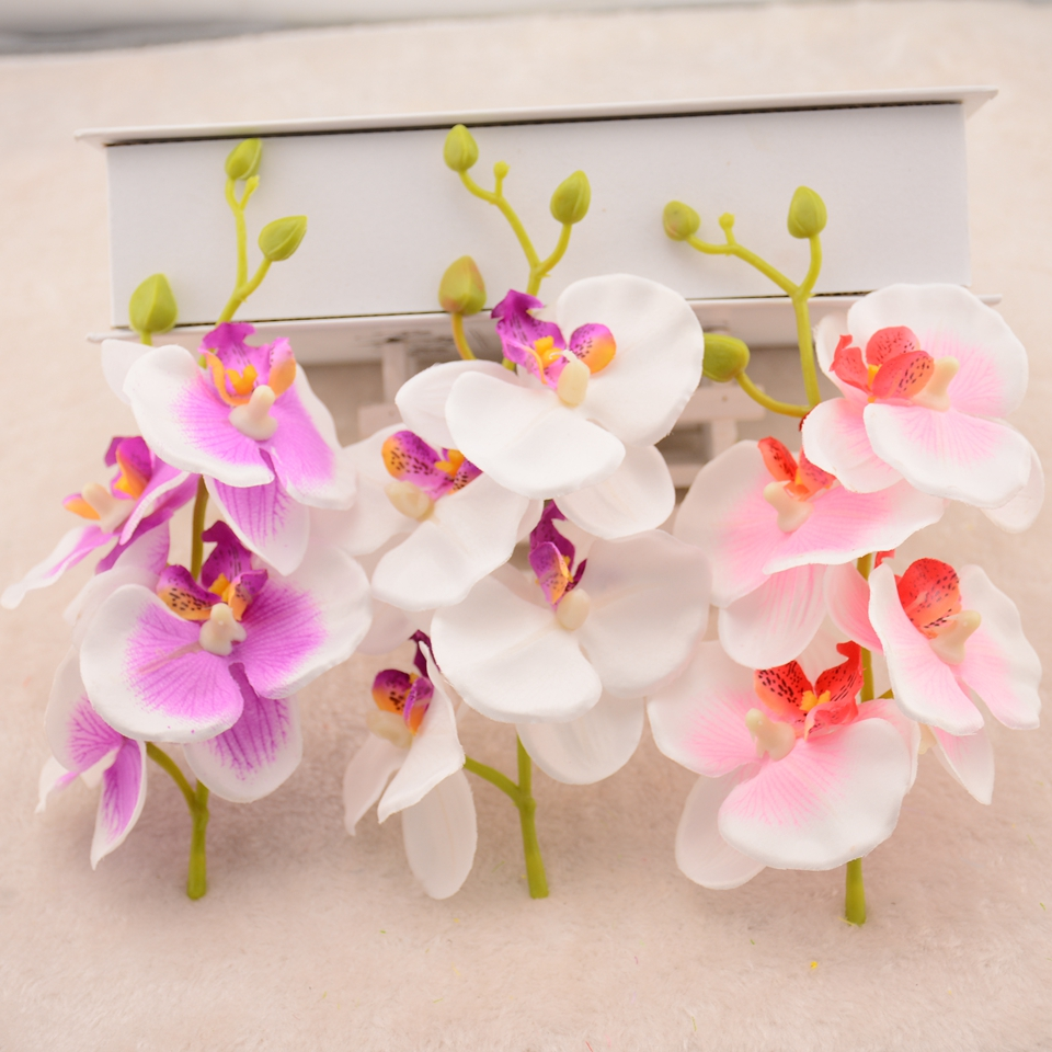2pcslot 16cm silk phalaenopsis artificial flower bouquet wedding 2pcslot 16cm silk phalaenopsis artificial flower bouquet wedding decoration diy wreath gift box scrapbooking craft fake flower in artificial dried izmirmasajfo