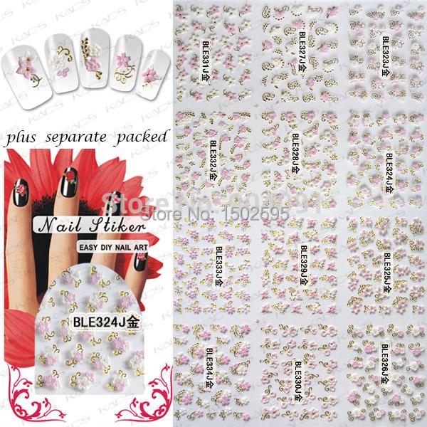 HOTSALE 90 Hoja/LOT 3D serie de flores de Oro Accesorios de pegatinas para uñas Nail Etiqueta Engomada Del Clavo + Separado Embalado