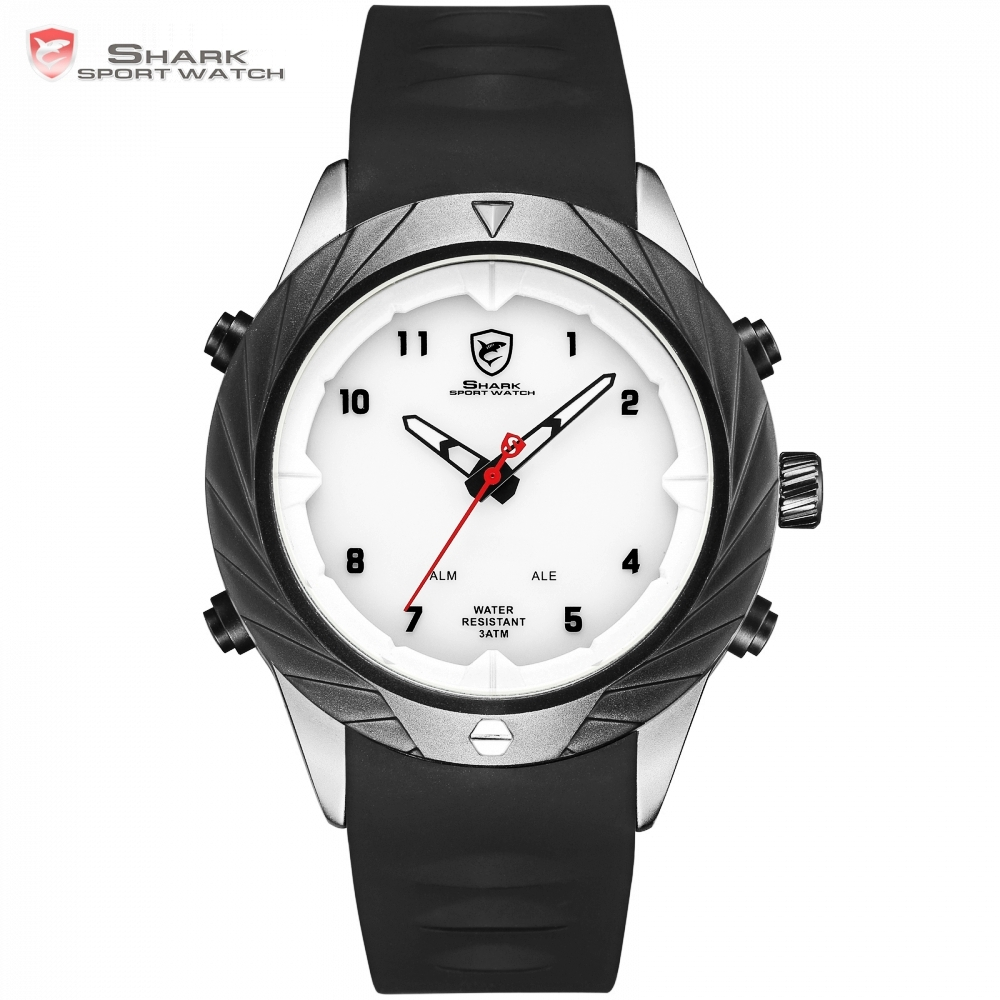 Graceful Shark Quartz Watch Men Outdoor Hiking Sport Clock White Dial Auto Date Day LED Digital Display erkek kol saati / SH579 top brand luxury digital led analog date alarm stainless steel white dial wrist shark sport watch quartz men for gift sh004