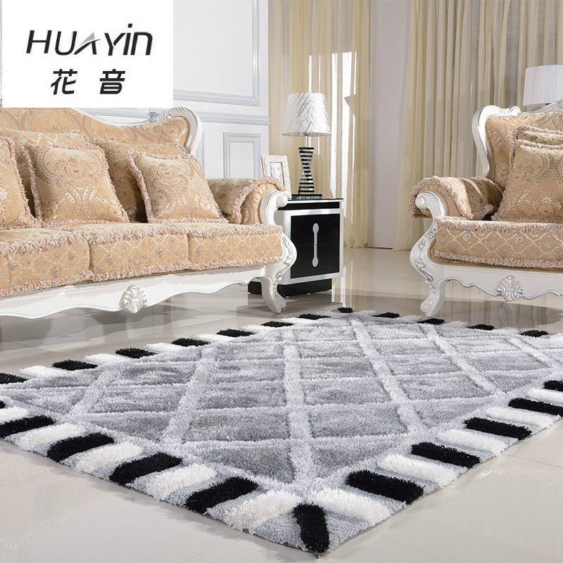 Modern minimalist living room carpet thickened bedroom rug - Black and white living room rug ...