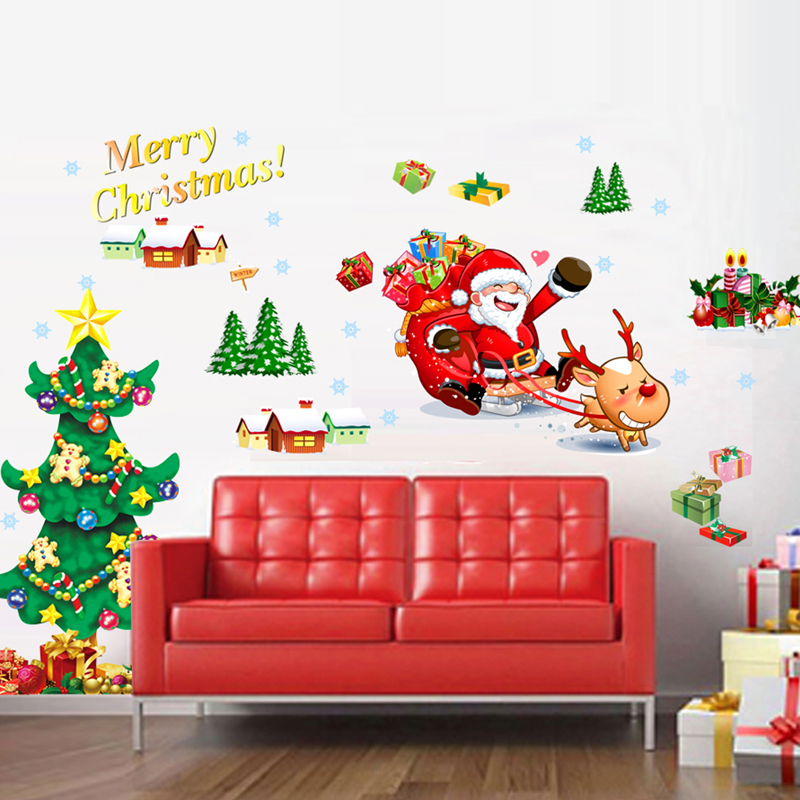 Santa Clause/sleigh/red-nosed Reindeer/christmas Tree/snowman/gifts/houses Peel & Stick Wall Decals Home Decor 1pcs Merry Christmas