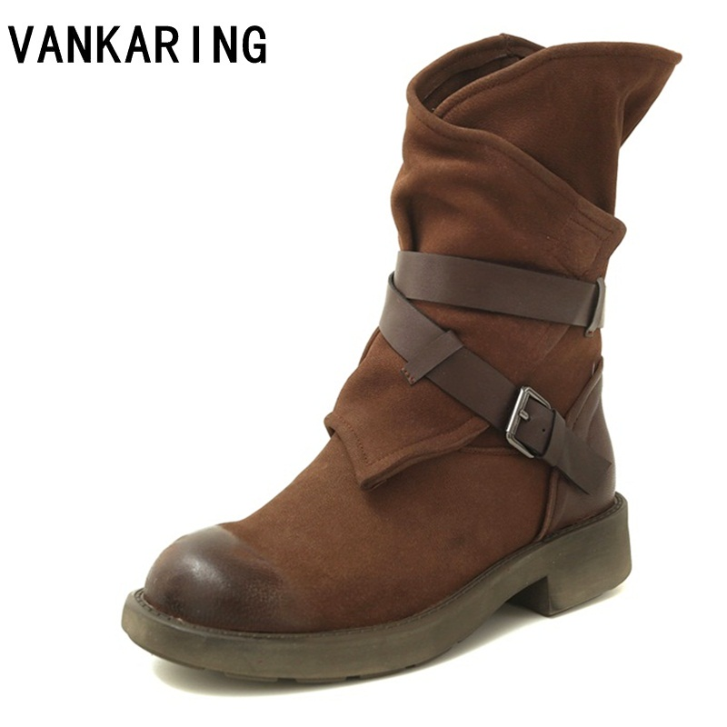VANKARING brand shoes women boots genuine leather ankle boots for women casual shoes cozy square heel autumn winter boots women недорго, оригинальная цена