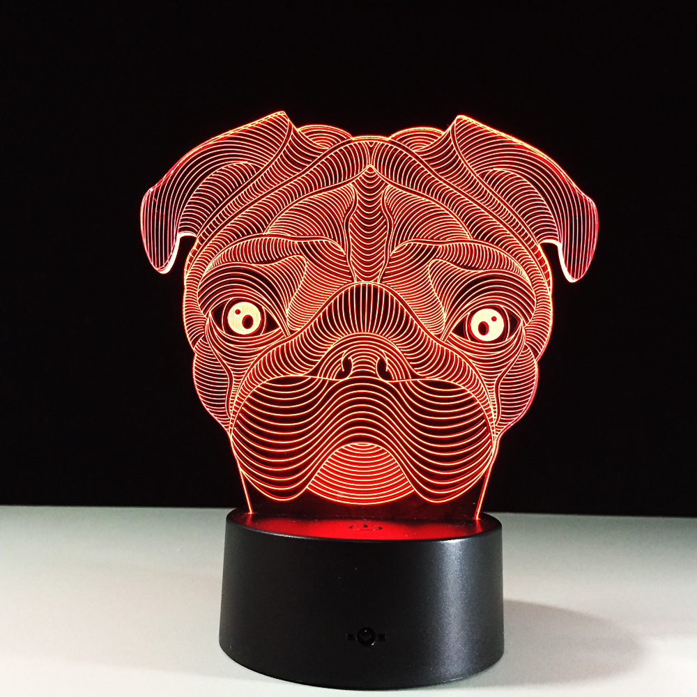 Belldog Lamp 3D Baby Light novelty toy lamp 7 color changing visual illusion LED light animal dog toy action figure gift
