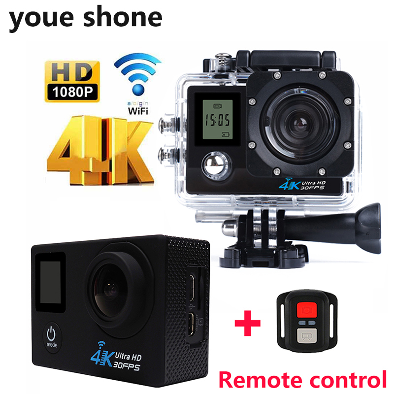youe shone Action Camera Outdoor Waterproof Remote control Double Screen Diving Bicycle cam Wifi Sport 4K Cameras Helmet cam цена