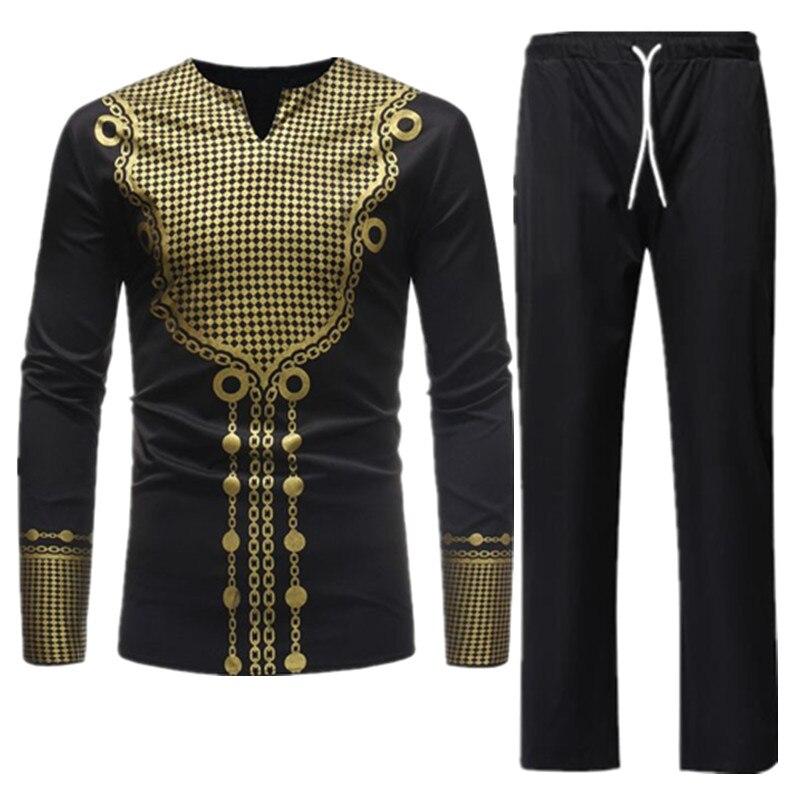Hommes ensembles traditionnel africain afrique vêtements coton noir Dashiki Bazin Riche imprimé chemise haute pantalon Designer hommes costumes