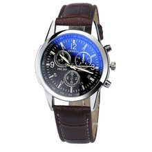 Splendid Luxury GENAVA Watch Men Fashion Faux Leather Mens Business Geneva Role Blue Watch Analog Wristwatches relogio masculino