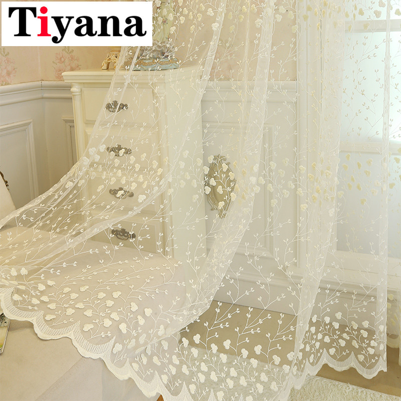 Embroidery Flowers Lace Curtains For Living Room Bedroom Sheer Kitchen Curtain Window Treatment Screen Pink Beige Tulle P208X