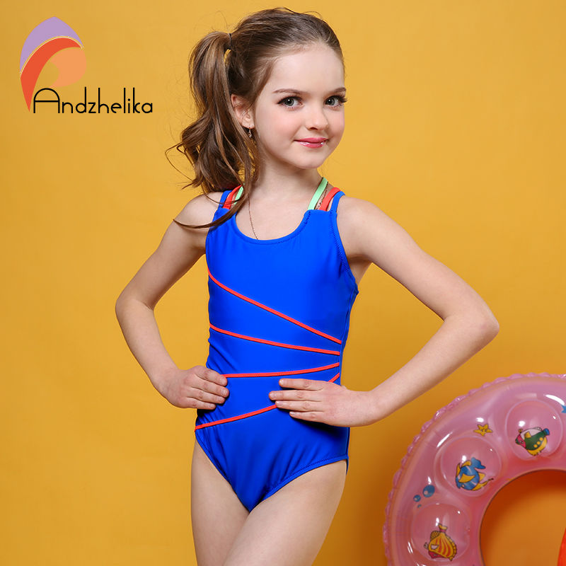 9750252243818 Andzhelika Swimsuit Girls One Piece Swimwear Solid Bandage Bodysuit  Children Beachwear Sports Swim Suit Bathing Suit AK8675-in Children's One-Piece  Suits ...