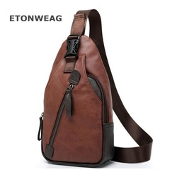 ETONWEAG New Men PU Leather High Quality Travel Cross Body Messenger Shoulder Fashion Casual Sling Pack Chest Bag