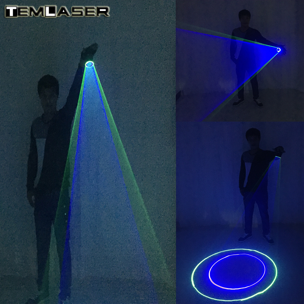Free Shipping Blue Green Laser Gloves For DJ Dancing Club True Blue Rotating LED Gloves Light Pub Party Laser Show