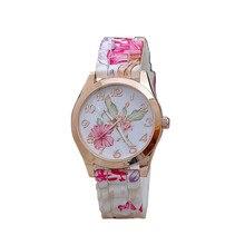 Women Watch Silicone Belt Vintage Pastoral Froral Printed Causal Quartz  Round Case Lady Wristwatches New Design Wholesale 40A22