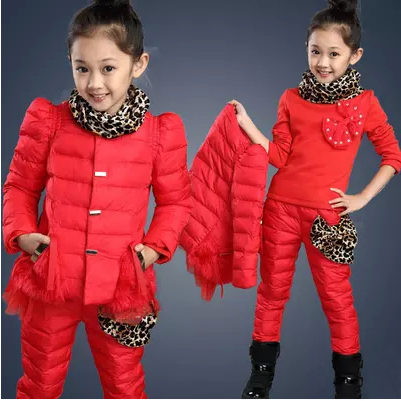 ФОТО 2016 girls winter 3 pieces set female kid plus velvet thickening child leopard printing cotton-padded jacket sportwear suit y696
