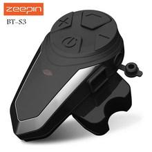 Zeepin BT-S3 Motorcycle Intercom 1000m Helmet Headsets Wireless Bluetooth Interphone Handsfree Waterproof FM Radio