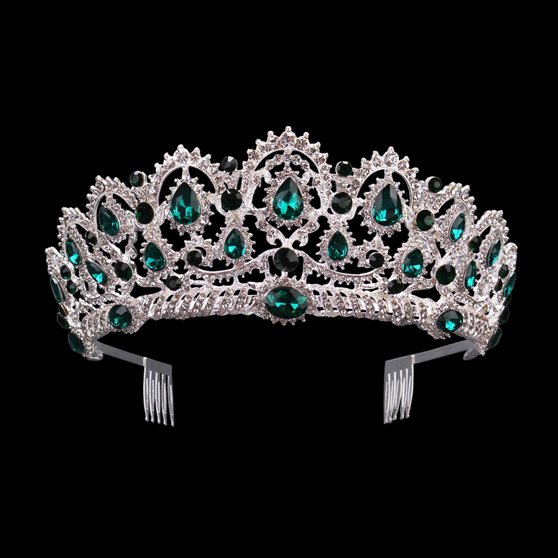 KMVEXO Green Red Blue Crystal Tiaras Vintage Silver Rhinestone Pageant Crowns With Comb Baroque Wedding Hair Jewelry Accessories