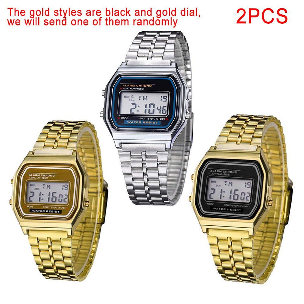 2 Pcs Retro Women Men Stainless Steel LED Digital Alarm Stopwatch Wrist Watch EC