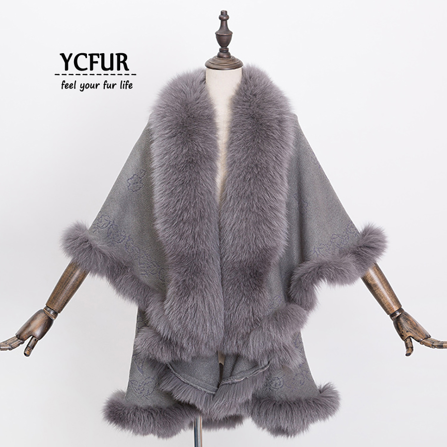 772dd26f144f2 [YCFUR] Women Poncho Wrap Winter Warm Cashmere Shawls With Real Fox Fur  Collar Real