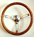 NEW 14 real rivets inlaid, high mirror plating spoke 15 inch 38cm universal vintage classic wood wooden car steering wheel