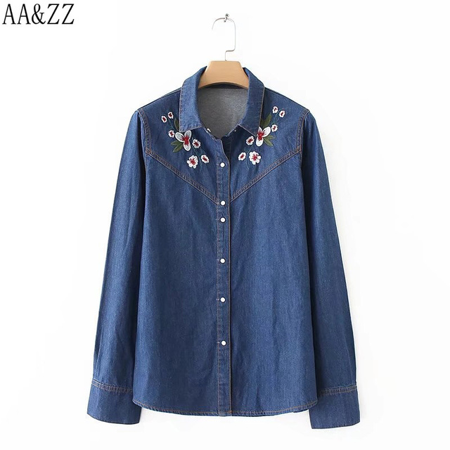 05ba6ad81506 LD Helly Women Floral Embroidery Denim Blouses Lapel Long-Sleeved Shirts  Female Casual Brand Tops Blusas Camisa Jeans Feminine