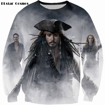 цена на PLstar Cosmos Captain Jack 3d Print Sweats Pirates of the Caribbean Crewneck Sweatshirt Sparrow Fashion Casual Clothing