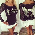 2017 New Style Fashion Summer Women Back Hollow Angel Wings T shirt Tops Lace Long Sleeve Tops shirts