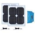 Комплект Panneaux Solaire 24 в 20 Вт 12 в 10 Вт солнечная панель 2 шт. Контроллер заряда 12 В/24 В 10 а зарядное устройство Солнечный кемпинг караван автомоби...
