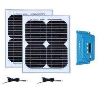 Kit Panneaux Solaire 24v 20W 12v 10w Solar Panel 2 Pcs Solar Charge Controller 12v/24v 10A Charger Solar Camping Caravan Car