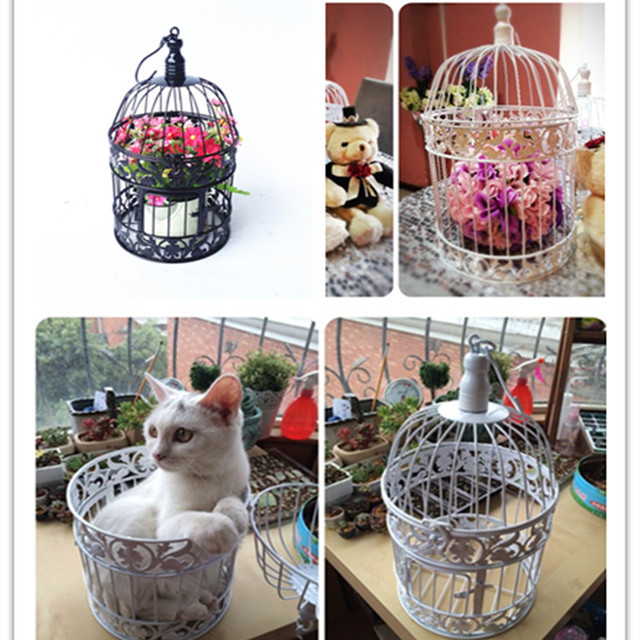Decorative Weddings Bird Cages Iron Metal White Large Cage Holder Party 2016 New Home Decor