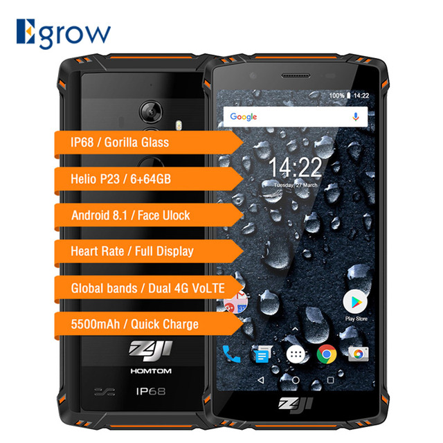 "HOMTOM ZOJI Z9 IP68 Waterproof Heart Rate Helio P23 Android 8.1 Smartphone 5.7"" 6GB 64GB 5500mAh Face ID Fingerprint Cell Phones"