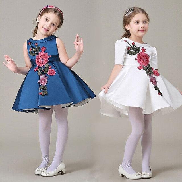 O Vestido da menina Com Bordados de Flores Vestidos de Festa Sem Mangas Menina Verão Princesa Vestidos Da Menina Do Bebê Vestidos de Festa L-77