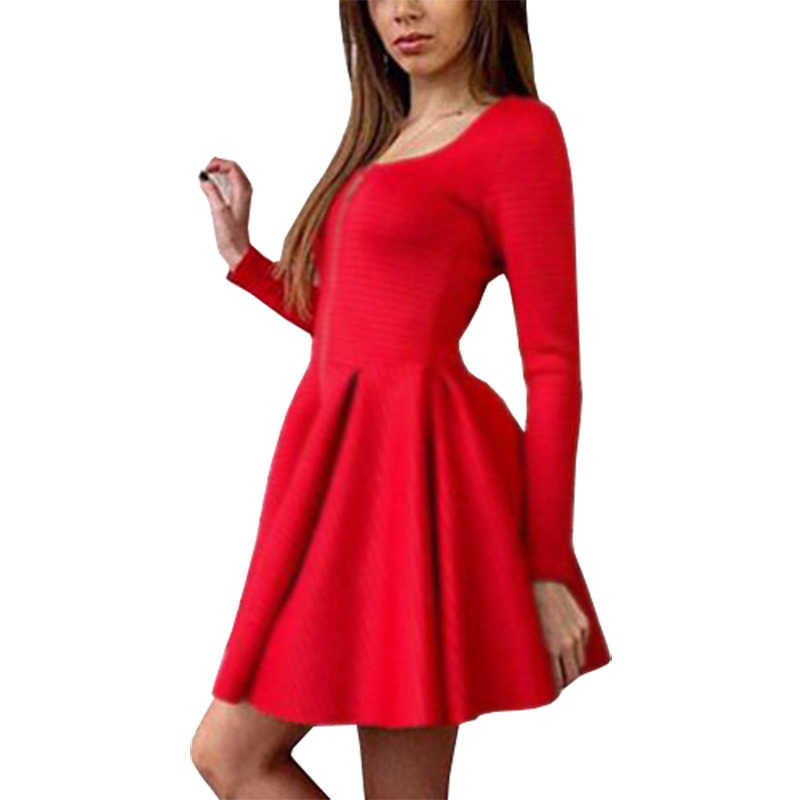 Europe America mini dresses foreign trade new Slim sexy Puff dress long-sleeved short vestido pleated clothing vestidos LBD1600