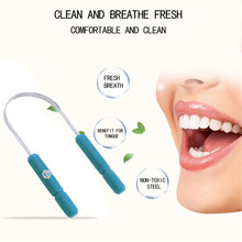 hot deal buy  healthy tongue cleaner stainless steel silica handle tongue scraper oral hygiene dental cleaning brush oral care