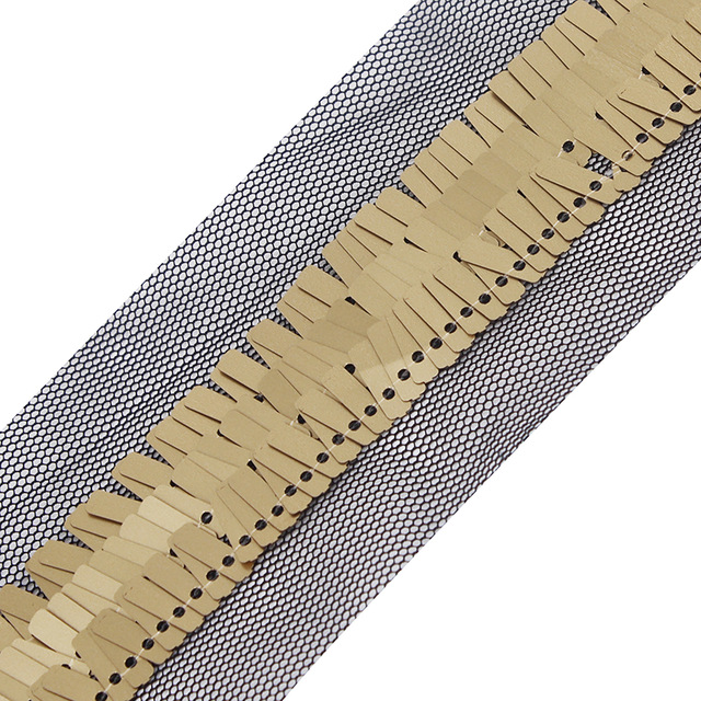 En gros 20 mètres noir artisanat Tulle dentelle ruban d'habillage avec or Sequin garniture couture garniture T105