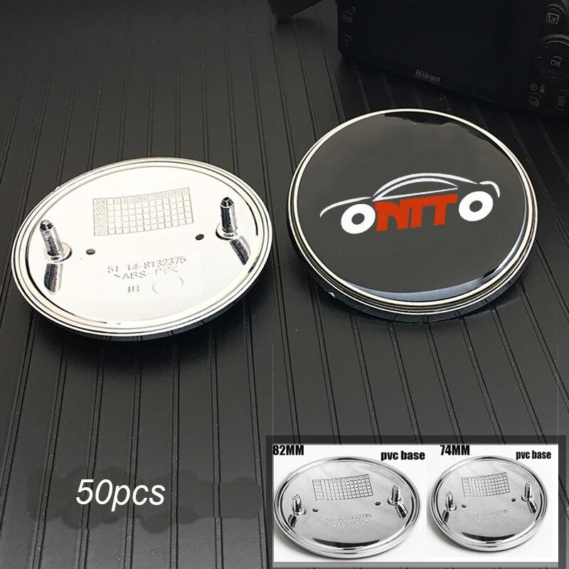 50PCS Car Front Hood Bonnet Stickers PVC Badge Rear Trunk Emblem Caps 82MM 74MM logo Label