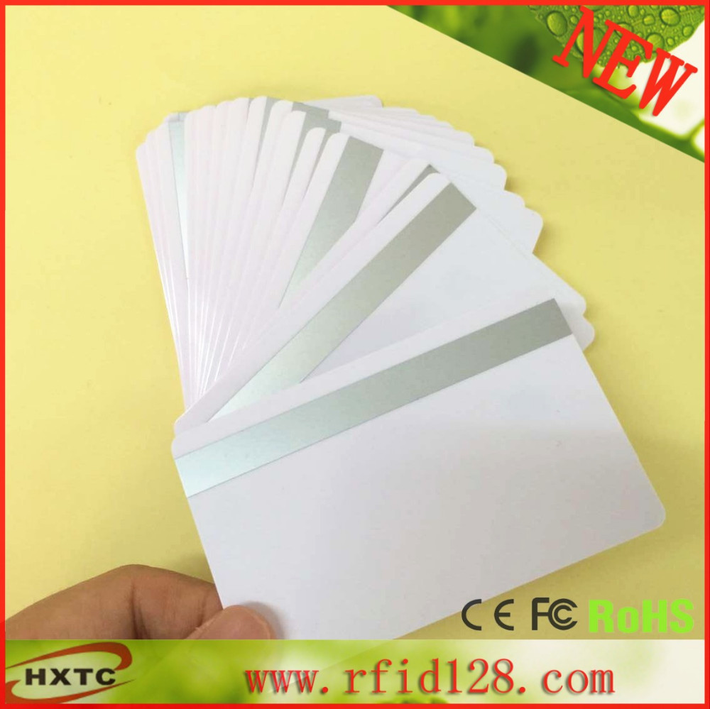 50pcs/lot Track 1 track 2  Hi-co 8.4mm size  Magstripe PVC IC Card  for Zebra Fargo Prima ID printer 200pcs lot customable 8 4mm mag stripe 2 track pvc smart ic card for iso hi co 2750 3000 4000 oe