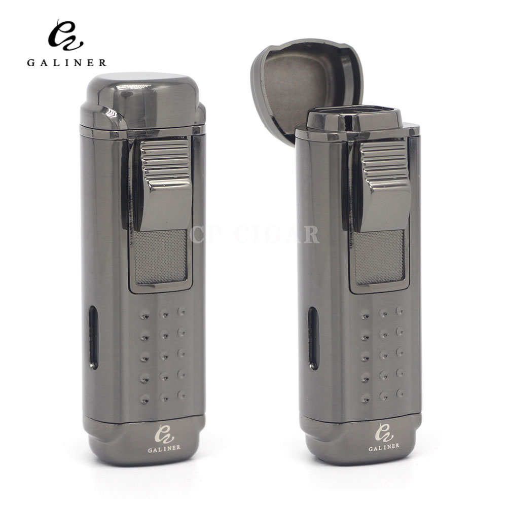 GALINER Cigar Lighter 4 Red Torch Jet Fire Windproof Refillable Cigarette Flame Lighter With Cigar Cutter PunchGALINER Cigar Lighter 4 Red Torch Jet Fire Windproof Refillable Cigarette Flame Lighter With Cigar Cutter Punch