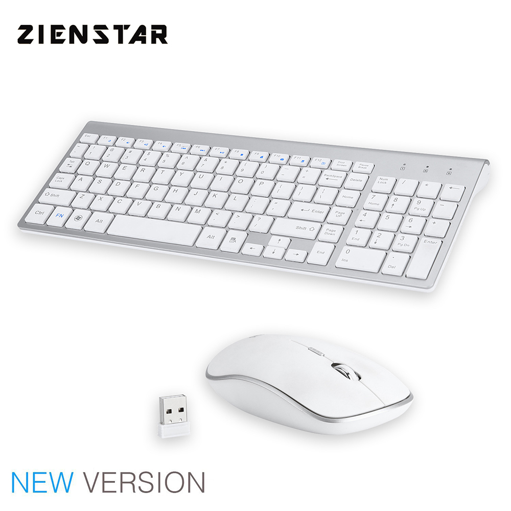 Zienstar English Letter Slim 2.4G Wireless Keyboard Mouse Combo with USB Receiver for Desktop,Computer PC,Laptop and Smart TV цены онлайн