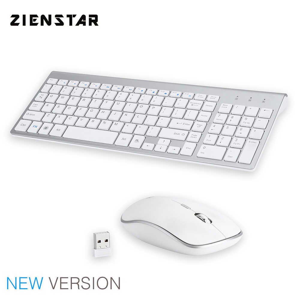 Zienstar-Wireless Large Print Keyboard and Wireless Mouse Combo Set with USB Receiver